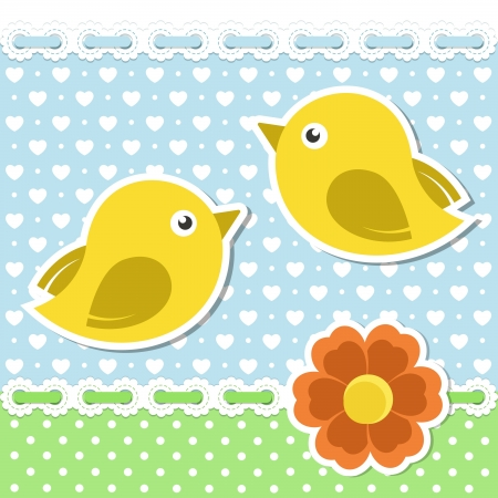 applique flower: Romantic background with birds and flower
