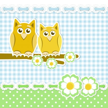 Romantic background with owls on blossoming branch Stock Vector - 17105446
