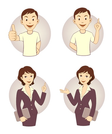 Gesturing business person set Stock Vector - 17130953