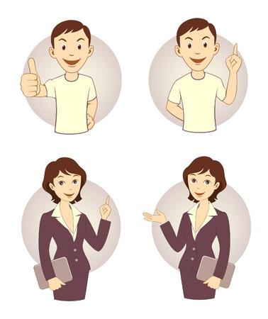 clerk: Gesturing business person set Illustration
