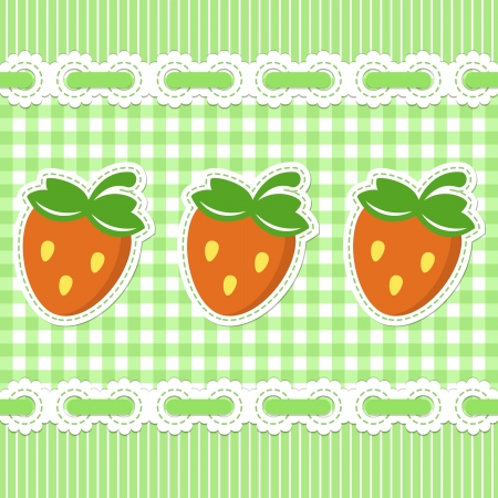 gingham: Green checked pattern with strawberry