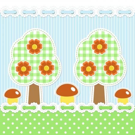 applique flower: Summer forest background with mushrooms Illustration
