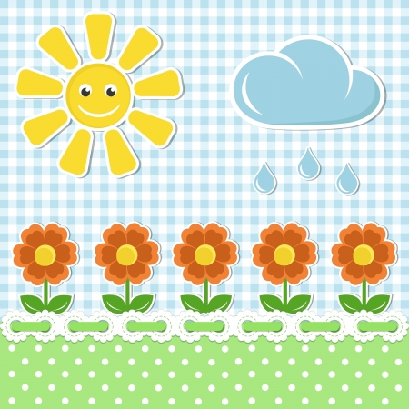 gingham: Spring fabric background with sun and flowers