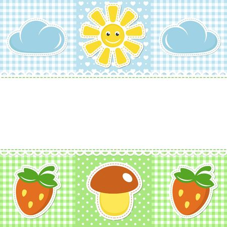 Lace border on sunny  background with mushroom and strawberry Vector