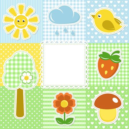 Summer frame with flower, strawberry, sun and bird on textile background Vector