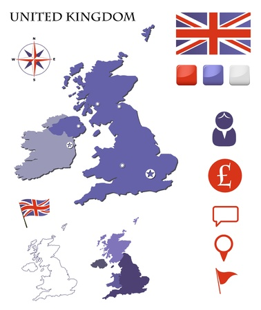 wales: United Kingdom map and icons set
