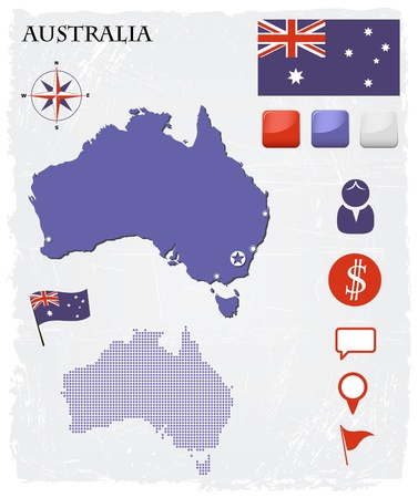 australian flag: Australia map icons and buttons set Illustration
