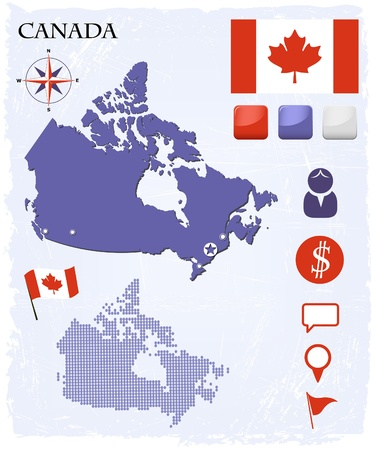 northwest: Canada map icons and buttons set Illustration