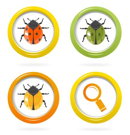 Ladybird glossy icon in colorful bubbles Stock Vector - 17455307