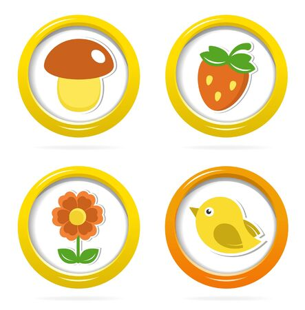 playschool: Summer icons in colorful bubbles Illustration