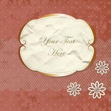 golden frames: Romantic lacy border with flowers