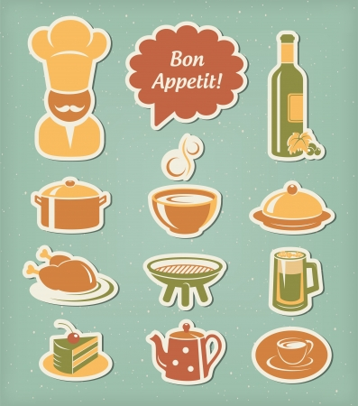 sopa de pollo: Iconos de men� en restaurantes establecido