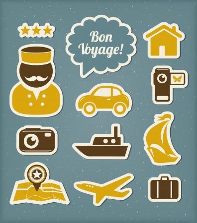 vintage travel: Les icônes de voyage et de vacances réglés Illustration