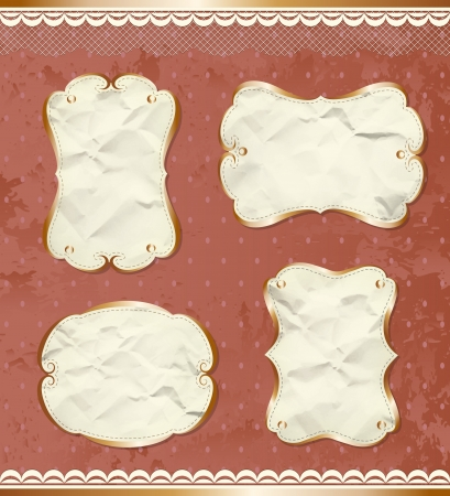Vintage paper borders set Vector