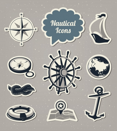 Nautical icons set Stock Vector - 18157046
