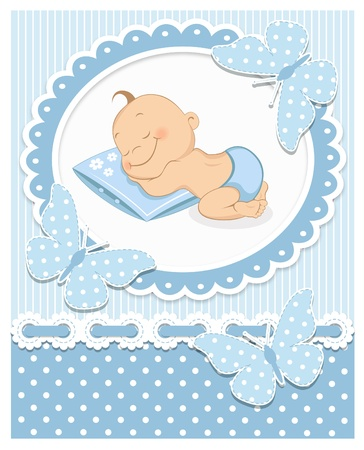 baby announcement: Sleeping baby boy