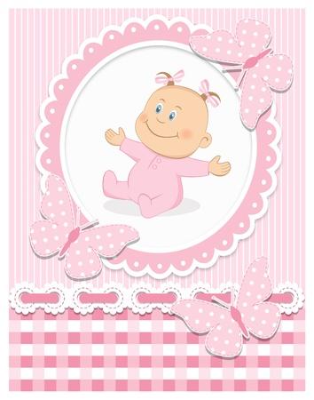 Smiling baby girl Illustration
