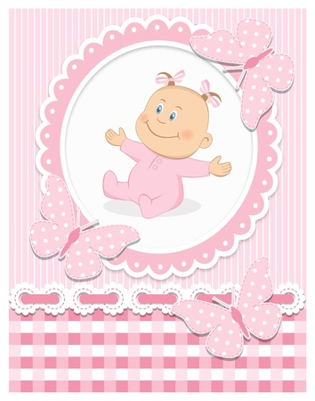 Smiling baby girl Illustration