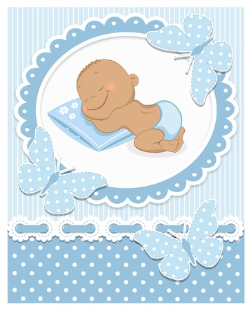 Sleeping African baby boy in a blue frame Vector