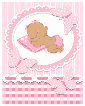 Sleeping African baby girl in a pink frame Vector