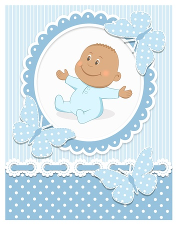 baby illustration: Smiling African baby boy