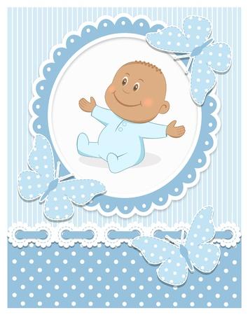 happy birthday baby: Sonriente beb� africano Vectores