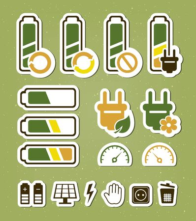 Battery recycling icons set Stock Vector - 18840009