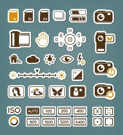 gigabyte: Camera screen icons set