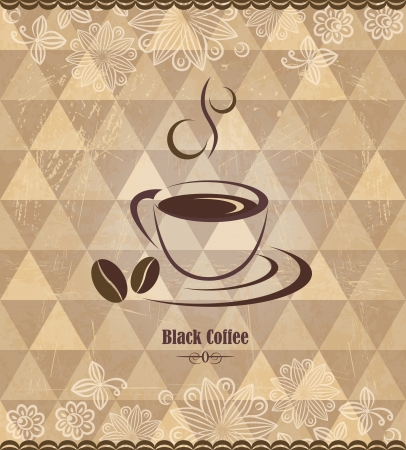 coffee menu: Black coffee vintage pattern