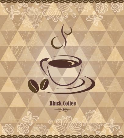 coffee beans: Zwarte koffie vintage patroon