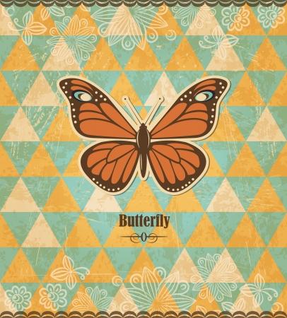 Farfalla mosaico d'epoca Vettoriali