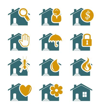 home security: House security and service icons