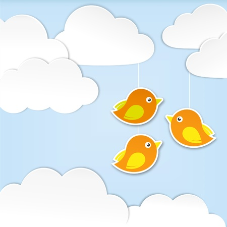 three wishes: Paper clouds with birds
