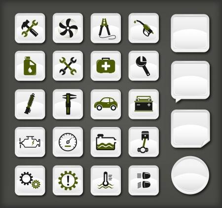 piezas coche: Iconos de servicio de coche Vectores