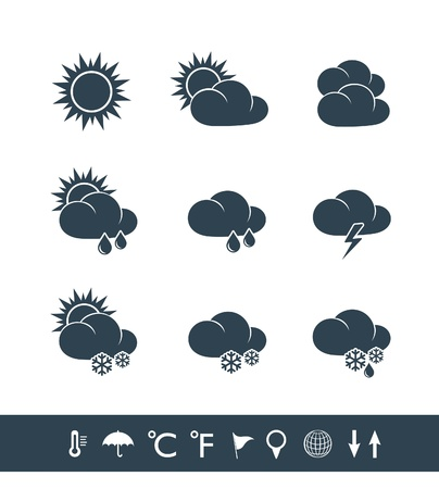 Weather icons black and white Stock Vector - 19409289