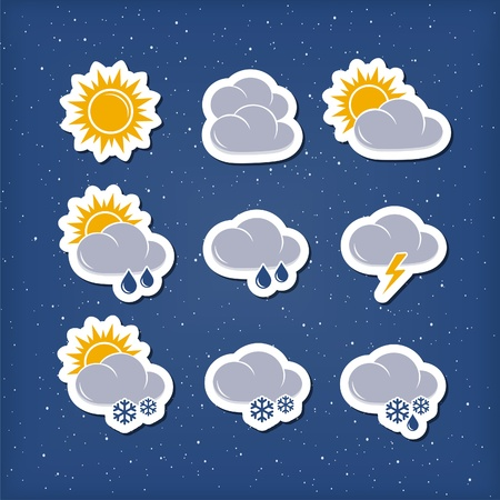 Weather forecast icons Stock Vector - 19409291