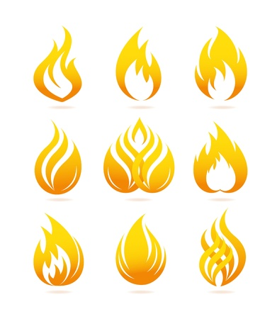 Fire icons set Stock Vector - 19752706