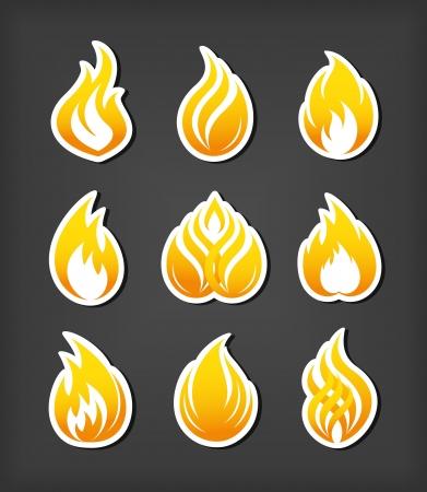 fireballs: Fire paper cut icons set