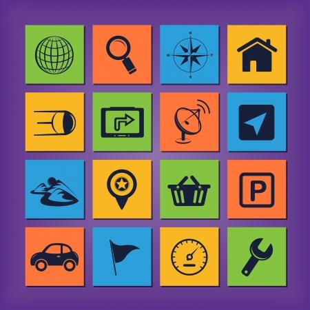 GPS navigation icons Stock Vector - 19978211