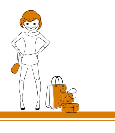 Fashion girl with sale bag Stock Vector - 20162333