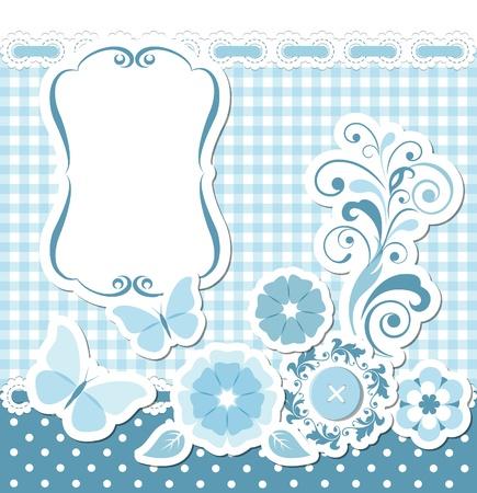 retro design elements: Floral scrapbook blue set