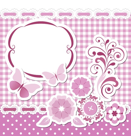 Floral scrapbook pink set Stock Vector - 20336700
