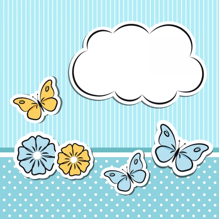 Scrapbook frame with flowers and butterflies Vector