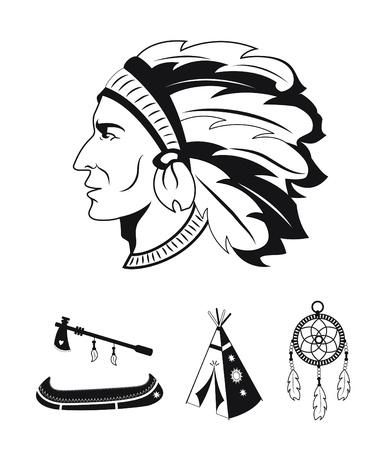tribu: Blanco y negro iconos americanos nativos Vectores