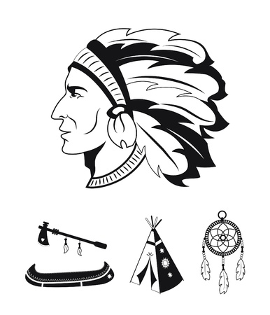 Native american black and white icons Illustration