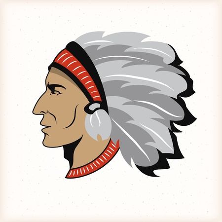indian chief mascot: Native american indian head