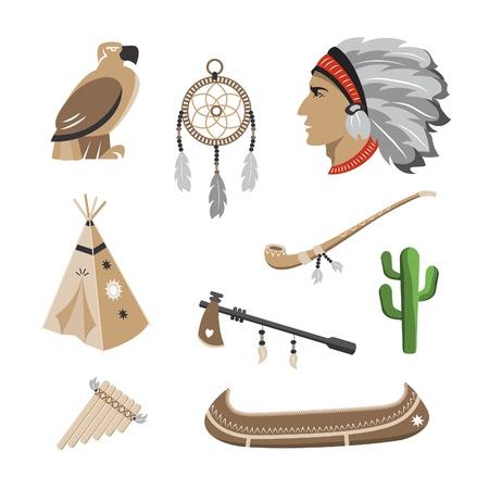atrapasue�os: Iconos s�mbolo nativo americano Vectores