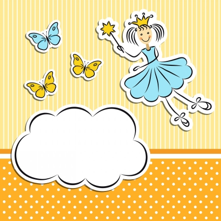 fairy wand: Fairy princess with paper cloud and butterflies