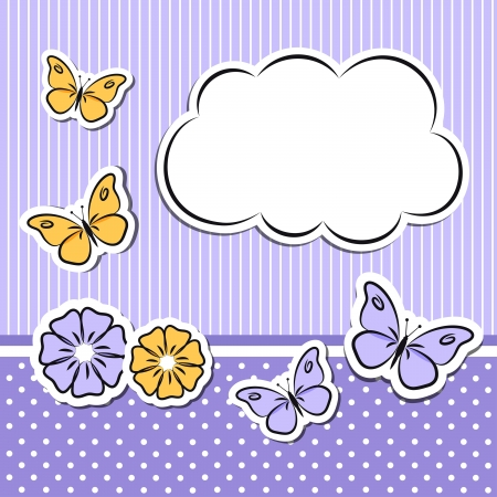 Paper cloud with flowers and butterflies Vector