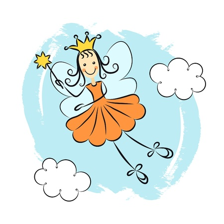 Little princess with a magic wand Vector